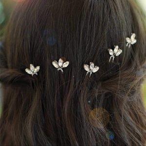 Five silver crystal bridal hair pins